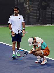 March 8, 2019 - Indian Wells, CA, U.S. - INDIAN WELLS, CA - MARCH 08: Maximo Gonzalez (ARG) heads towards his partner Kei Nishikori (JPN) who reacts after losing a point in the second set of a doubles match during the BNP Paribas Open played at the Indian Wells Tennis Garden in Indian Wells, CA. (Photo by John Cordes/Icon Sportswire) (Credit Image: © John Cordes/Icon SMI via ZUMA Press)