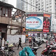 China, Shanghai. Quipu area under renovation, destroyed houses