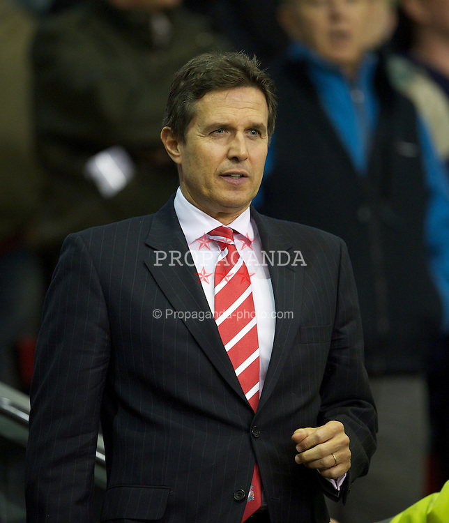 LIVERPOOL, ENGLAND - Thursday, September 16, 2010: Liverpool's managing director Christian Purslow during the opening UEFA Europa League Group K match against FC Steaua Bucuresti at Anfield. (Photo by David Rawcliffe/Propaganda)