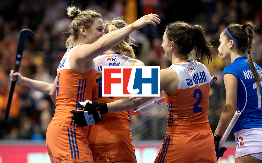 BERLIN - Indoor Hockey World Cup<br /> Quarterfinal 4: Netherlands - Czech Republic<br /> foto: Lieke van Wijk and Kiki van WIjk celebrate.<br /> WORLDSPORTPICS COPYRIGHT FRANK UIJLENBROEK