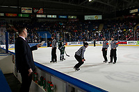 KELOWNA, CANADA - FEBRUARY 15:  Kelowna Rockets' assistant coach Kris Mallette stands on the bench at the end of first period against the Everett Silvertips and speaks to referees on February 15, 2019 at Prospera Place in Kelowna, British Columbia, Canada.  (Photo by Marissa Baecker/Shoot the Breeze)