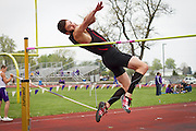 Gus Fulgoni attemps to clear the bar during the Men's high jump competition at Cornell College. BEN BREWER/Grinnell College