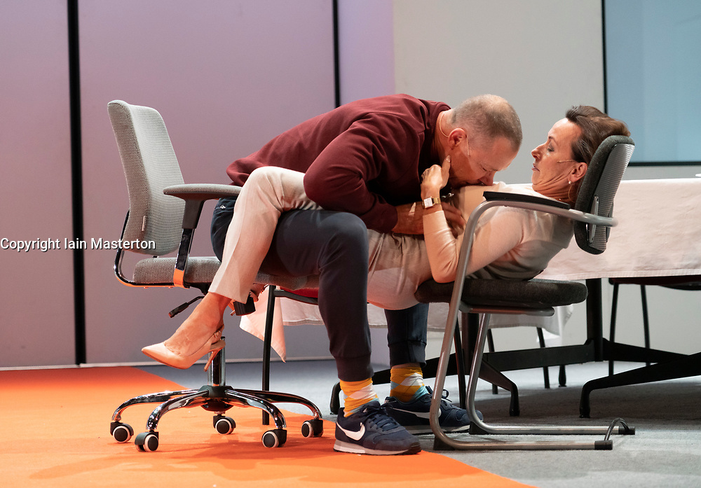 Edinburgh, Scotland, UK. 13 August 2019. Preview at Edinburgh International Festival of Oedipus, a revelatory updating of Sophocles' tragedy, is a chilling thriller, told in real time.<br /> <br /> British director Robert Icke joins one of Europe's most lauded theatre companies for a revelatory updating of Sophocles' tragedy. <br /> Internationaal Theater Amsterdam (formerly Toneelgroep Amsterdam) is one of Europe's most consistently exciting ensembles, led by director Ivo van Hove. Credit; Iain Masterton/Alamy Live News ++ Editorial Use Only ++
