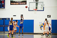 Lamoille's Jasmin Daigle-Arnold (14) takes a free throw shot during the girls basketball game between Lamoille and Milton at Milton High School on Friday night December 18, 2015 in Milton, (BRIAN JENKINS/for the FREE PRESS)