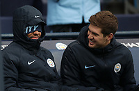 Football - 2018 / 2019 Premier League - Manchester City vs. Everton<br /> <br /> Rahem Stirling and John Stones of Manchester City  at The Etihad.<br /> <br /> COLORSPORT/LYNNE CAMERON