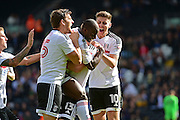 Fulham FC defender Tim Ream (13) score the equaliser during the EFL Sky Bet Championship match between Fulham and Queens Park Rangers at Craven Cottage, London, England on 1 October 2016. Photo by Jon Bromley.