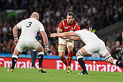 Wales back row Sam Warburton is tackled during the Rugby World Cup Pool A match between England and Wales at Twickenham, Richmond, United Kingdom on 26 September 2015. Photo by David Charbit.
