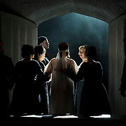 September 23, 2015 - New York, NY : Sondra Radvanovsky, in white, is lead to her death in the final scene, as she performs as Anna (Boleyn) Bolena in a dress rehearsal for Gaetano Donizetti's 'Anne Bolena' at the Metropolitan Opera at Lincoln Center on Wednesday. CREDIT: Karsten Moran for The New York Times