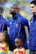 William Gallas and Hugo Lloris line up before the 2010 World Cup Soccer match between South Africa and France played at the Freestate Stadium in Bloemfontein South Africa on 22 June 2010.
