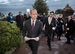 **2018 Pictures of the year by London News Pictures**<br /> &copy; Licensed to London News Pictures. 22/01/2018. Folkstone, UK. UKIP Leader HENRY BOLTON is pursued by reporters after he gave a statement outside his hotel following a series of resignations within the party. Bolton, who has only been leader of UKIP since September 2017, has come under pressure following unfavourable stories in the press about his personal life and the behaviour of his former girlfriend Jo Marney. Photo credit: Peter Macdiarmid/LNP