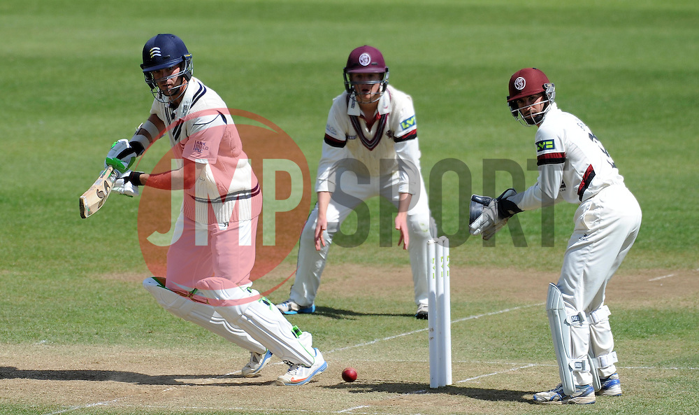 Middlesex's James Franklin cuts the ball. - Photo mandatory by-line: Harry Trump/JMP - Mobile: 07966 386802 - 29/04/15 - SPORT - CRICKET - LVCC Division One - County Championship - Somerset v Middlesex - Day 4 - The County Ground, Taunton, England.