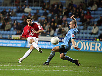 Photo: Rich Eaton.<br /> <br /> Coventry City v Bristol City. The FA Cup. 16/01/2007. Scott Murray left of Bristol scores the first goal of the game from outside the box