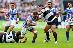 Samoa Flanker Jack Lam is tackled by Barbarians Lock Bakkies Botha (South Africa, Captain) - Mandatory byline: Rogan Thomson/JMP - 07966 386802 - 29/08/2015 - RUGBY UNION - The Stadium at Queen Elizabeth Olympic Park - London, England - Barbarians v Samoa - International Friendly.