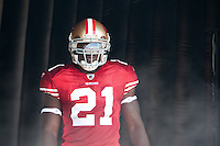 18 September 2011: Runningback (21) Frank Gore of the San Francisco 49ers stands in the tunnel before his name is called during player introductions before the Cowboys 27-24 overtime victory against the 49ers in an NFL football game at Candlestick Park in San Francisco, CA