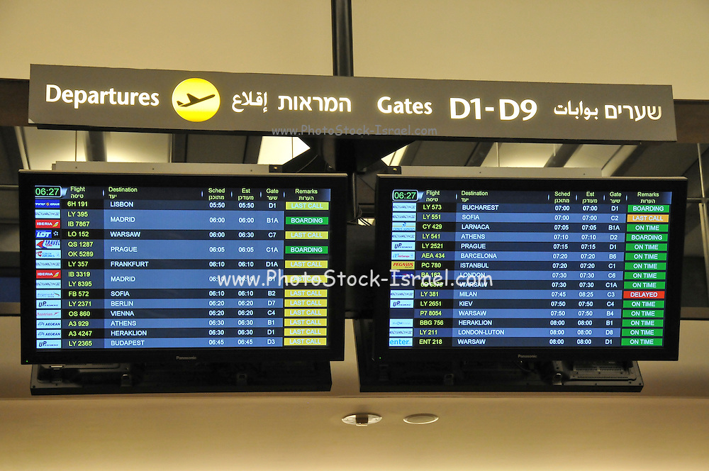 Israel, Ben-Gurion International airport Terminal 3, departure board