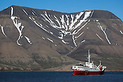 Adventure cruise ship Antarctic Dream in Adventfjorden, near Longyearbyen, Svalbard