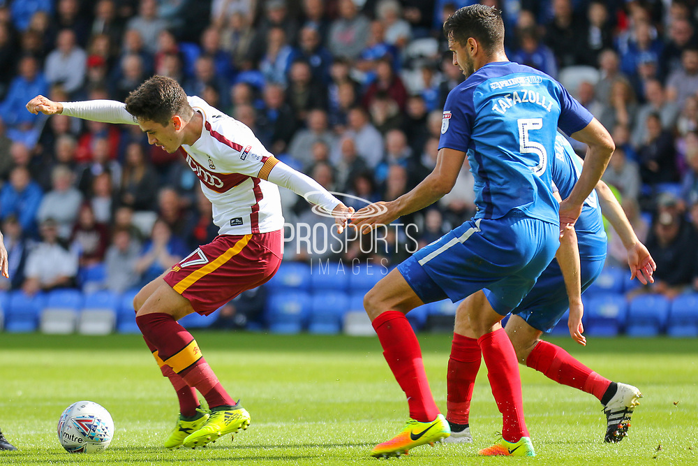 Bradford City midfielder Alex Gilliead turns on the ball during the EFL Sky Bet League 1 match between Peterborough United and Bradford City at London Road, Peterborough, England on 9 September 2017. Photo by Aaron  Lupton.