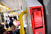 Emergency Door Release on a Melbourne tram. Melbourne, Victoria, Australia