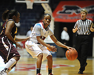 """Ole Miss' Valencia McFarland (3) vs. Central Michigan at C.M. """"Tad"""" Smith Coliseum in Oxford, Miss. on Wednesday, December 14, 2011."""