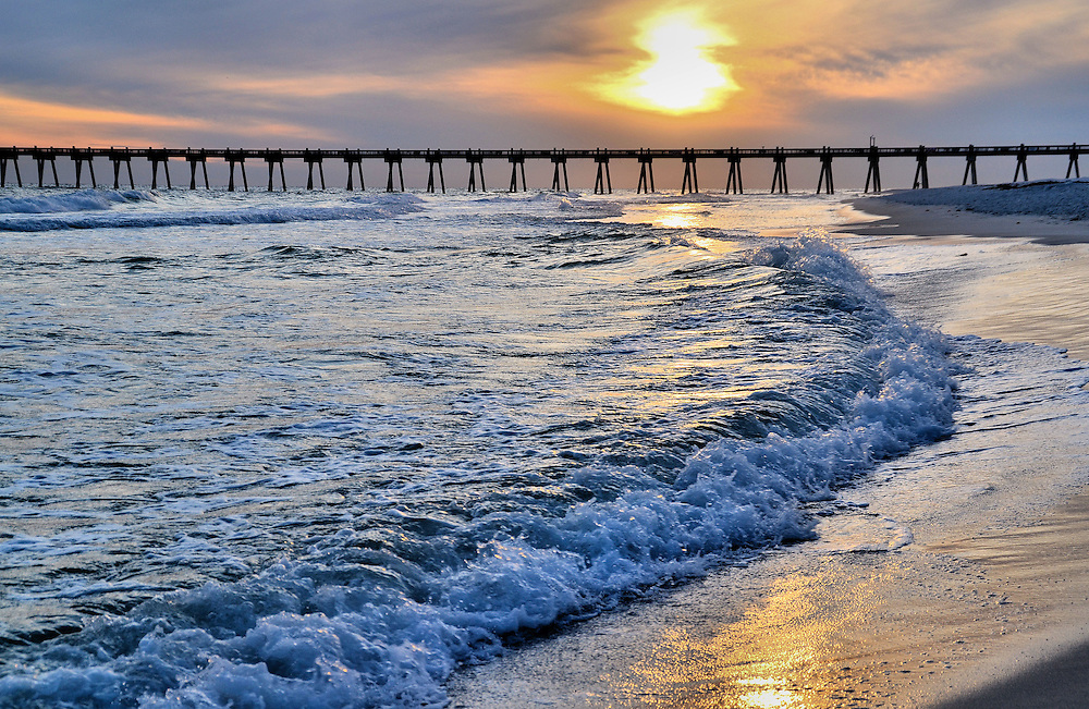 Pensacola Beach Gulf Pier at Sunset in Florida<br />