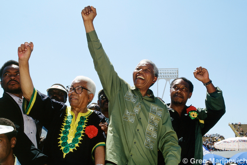 Nelson Mandela greets ANC supporters  during the 1994 election camapign that led to his ANCs victory in the first democratic, non racial election in South Africa 1994