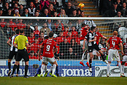 Paul McGinn of St Mirren headers over the bar during the Ladbrokes Scottish Premiership match between St Mirren and Hamilton Academical FC at the Paisley 2021 Stadium, St Mirren, Scotland on 13 May 2019.