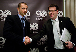 New president of NZS Aleksander Ceferin and Ales Zavrl of NZS at press conference after the General Assembly of NZS - Football Association of Slovenia, on February 17, 2011 in Hotel Kokra, Brdo pri Kranju, Slovenia. (Photo By Vid Ponikvar / Sportida.com)