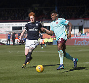 1st April 2018, Dens Park, Dundee, Scotland; Scottish Premier League football, Dundee versus Heart of Midlothian; Joaquim Adao of Hearts snf Sofien Moussa of Dundee