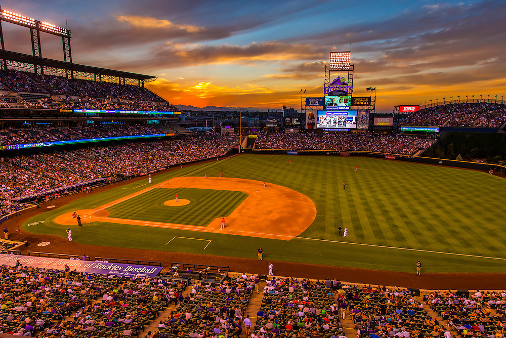 Colorado Rockies baseball game at Coors Field, Downtown Denver, Colorado USA.