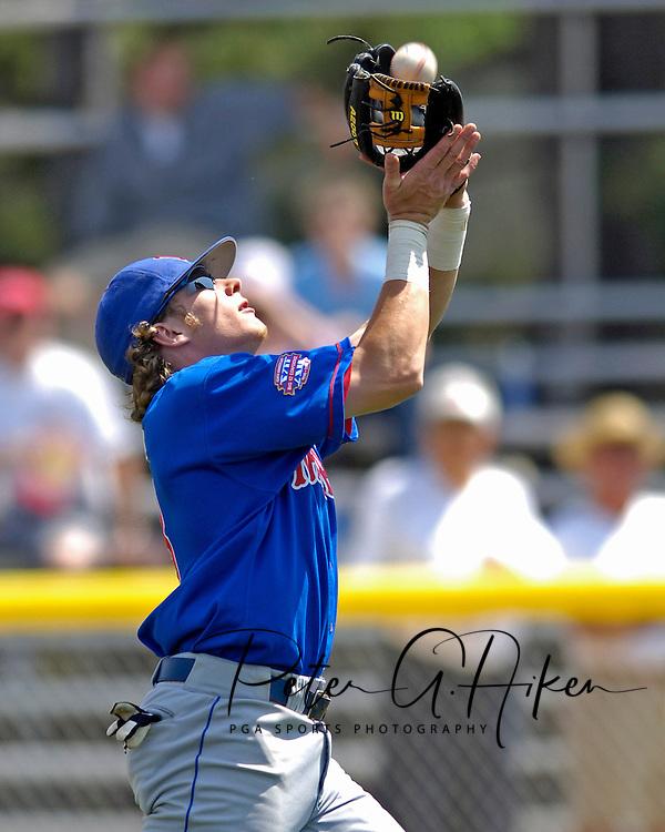 Kansas Jayhawk second basemen Jared Schweltzer makes the catch on a short pop up on the infield against Kansas State.  The Wildcats held on to beat Kansas 5-4 at Tointon Stadium in Manhattan, Kansas, April 23, 2006.