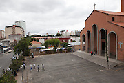 A view of the church, Our Lady Of Peace, at Missao Paz, São Paulo, Brazil.<br /> <br /> Missao Paz provides advice and support on employment, health, family, community and education. They also have residential quarters where people can stay when they have no where else. <br /> <br /> Their mission is to welcome, understand, integrate and celebrate the lives of immigrants and refugees, dreaming of a universal citizenship.