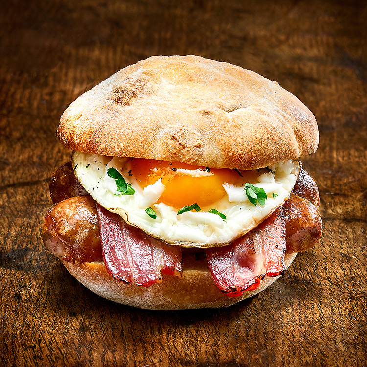 Breakfast Sadwich with Egg, Sausage and Bacon
