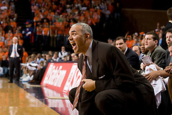 Virginia head coach Dave Leitao argues a call from the bench.  The Virginia Cavaliers men's basketball team faced the #3 ranked North Carolina Tar Heels  at the John Paul Jones Arena in Charlottesville, VA on February 12, 2008.