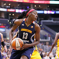 03 August 2014: Connecticut Sun forward Chiney Ogwumike (13) grabs a rebound during the Los Angeles Sparks 70-69 victory over the Connecticut Sun, at the Staples Center, Los Angeles, California, USA.