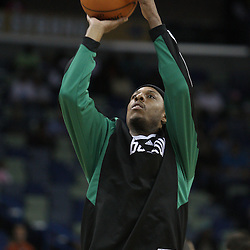 02 February 2009:  Boston Celtics forward Paul Pierce shoots during pregame warm ups prior to tipoff of an NBA game between the Boston Celtics and the New Orleans Hornets at the New Orleans Arena in New Orleans, LA.
