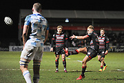 Duhan van der Merwe kicks for touch during the Guinness Pro 14 2017_18 match between Edinburgh Rugby and Leinster Rugby at Myreside Stadium, Edinburgh, Scotland on 9 February 2018. Picture by Kevin Murray.