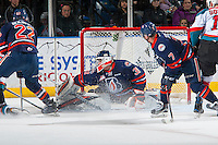 KELOWNA, CANADA - JANUARY 7: Dylan Ferguson #31 of the Kamloops Blazers makes a save against the Kelowna Rockets on January 7, 2017 at Prospera Place in Kelowna, British Columbia, Canada.  (Photo by Marissa Baecker/Shoot the Breeze)  *** Local Caption ***