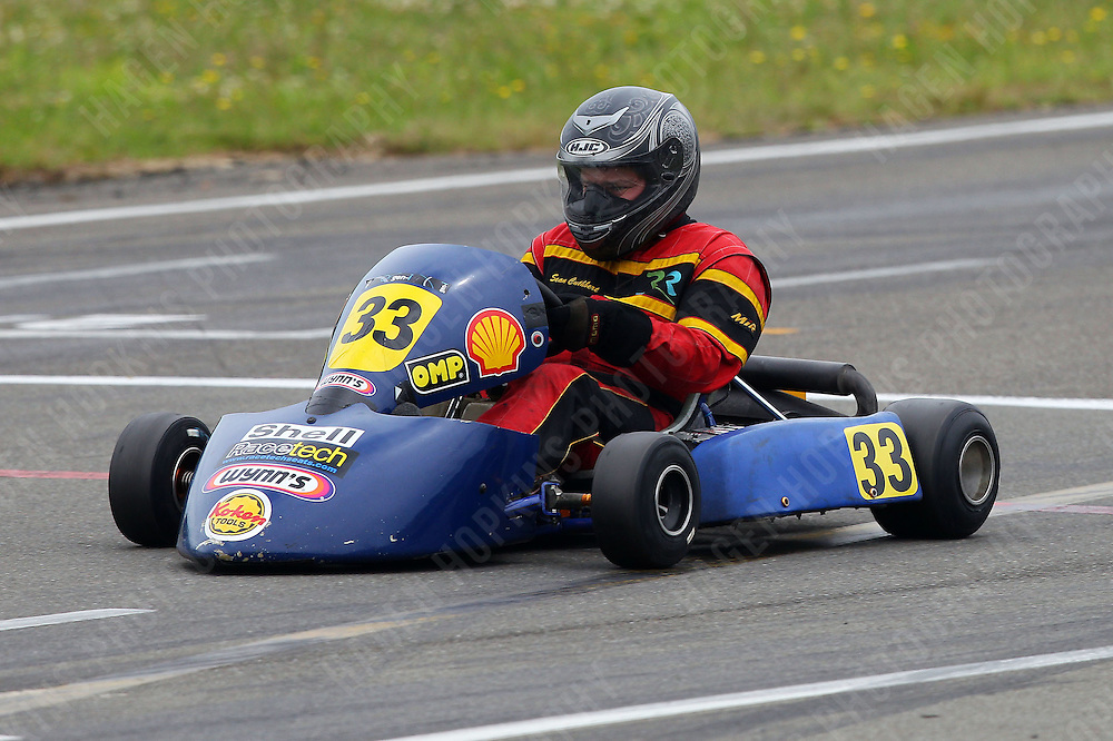 Sean Cuthbert, 33, races in the Rotax Heavy class during the 2012 Superkart National Champs and Grand Prix at Manfeild in Feilding, New Zealand on Saturday, 7 January 2011. Credit: Hagen Hopkins.