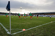 Hartlepool's sstadium during the warmup before the Sky Bet League 2 match between Hartlepool United and Wycombe Wanderers at Victoria Park, Hartlepool, England on 16 January 2016. Photo by George Ledger.