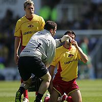 Photo: Lee Earle.<br /> Reading v Watford. The Barclays Premiership. 05/05/2007.Watford's Douglas Rinaldi (R) recieves treatment before leaving the pitch.