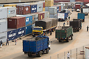 Trucks and containers at the sea port in Lome, Togo on Friday October 3, 2008.