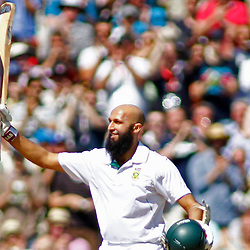 22/07/2012 London, England. South Africa's Hashim Amla celebrates a double century during the Investec cricket international test match between England and South Africa, played at the Kia Oval cricket ground: Mandatory credit: Mitchell Gunn