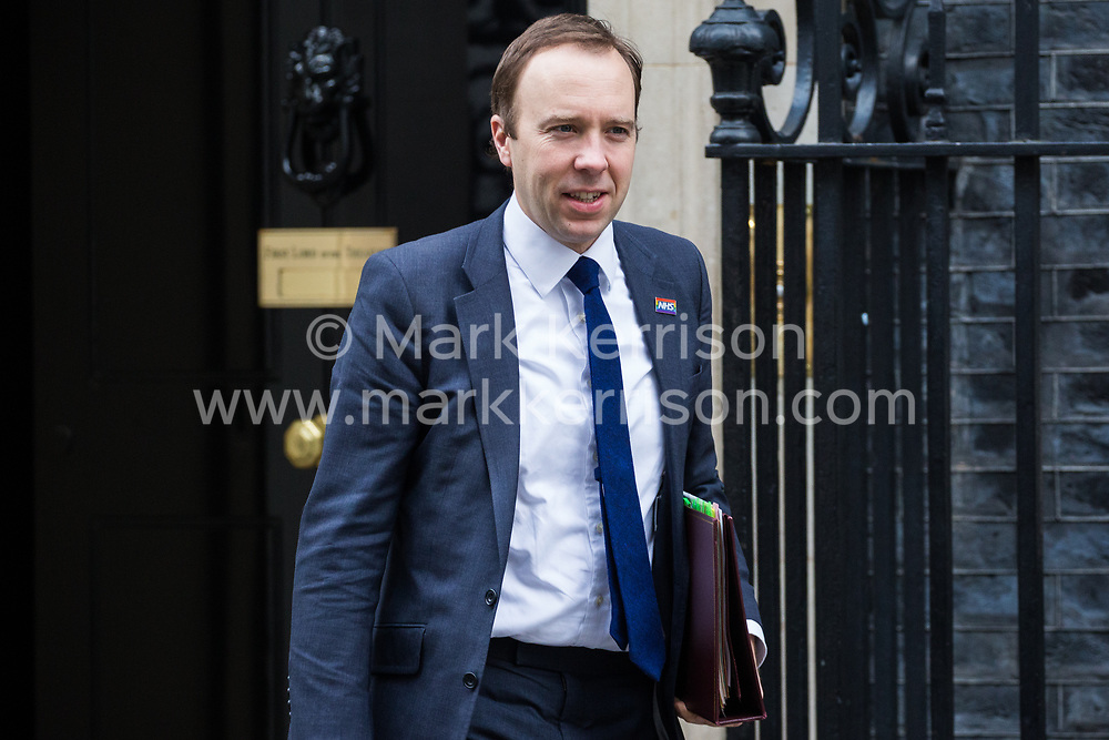 London, UK. 12th February, 2019. Matt Hancock MP, Secretary of State for Health and Social Care, leaves 10 Downing Street following a Cabinet meeting.