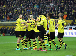 "01.03.2014, Signal Iduna Park, Dortmund, GER, 1. FBL, Borussia Dortmund vs 1. FC Nuernberg, 23. Runde, im Bild Henrikh ""Micki"" Mkhihtaryan (Borussia Dortmund #10) nimmt den Torschuetzen Mats Hummels (Borussia Dortmund #15) beim Torjubel nach dem Treffer zum 1:0, den Arm, Emotion, Freude, Glueck, Positiv // during the German Bundesliga 23th round match between Borussia Dortmund and 1. FC Nuernberg at the Signal Iduna Park in Dortmund, Germany on 2014/03/01. EXPA Pictures © 2014, PhotoCredit: EXPA/ Eibner-Pressefoto/ Schueler<br /> <br /> *****ATTENTION - OUT of GER*****"