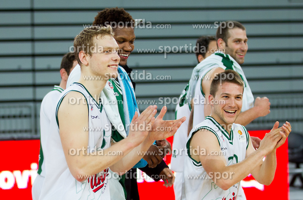 Jaka Blazic, Jan Mocnik of Olimpija after the basketball match between KK Union Olimpija and KK Sentjur in 4th Round of Telemach League for Slovenian National Champion 2011/12, on April 4, 2012, in Arena Stozice, Ljubljana, Slovenia. (Photo by Vid Ponikvar / Sportida.com)