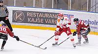2020-01-19 | Umeå, Sweden:Vallentuna (25) David Hozek battles for the puck with Teg (44) Casper Andersson in  AllEttan during the game  between Teg and Vallentuna at A3 Arena ( Photo by: Michael Lundström | Swe Press Photo )<br /> <br /> Keywords: Umeå, Hockey, AllEttan, A3 Arena, Teg, Vallentuna, mltv200119
