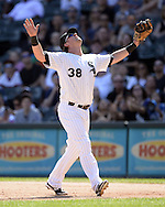 CHICAGO - AUGUST 31:  Andy Wilkins #38 of the Chicago White Sox fields against the Detroit Tigers on August 31, 2014 at U.S. Cellular Field in Chicago, Illinois.  (Photo by Ron Vesely)