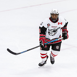 GEORGETOWN, ON - JANUARY 23: Brandon Carr Ansah #4 of the Georgetown Raiders follows the play during the third period on January 23, 2019 at Gordon Alcott Memorial Arena in Georgetown, Ontario, Canada.<br /> (Photo by Ryan McCullough / OJHL Images)