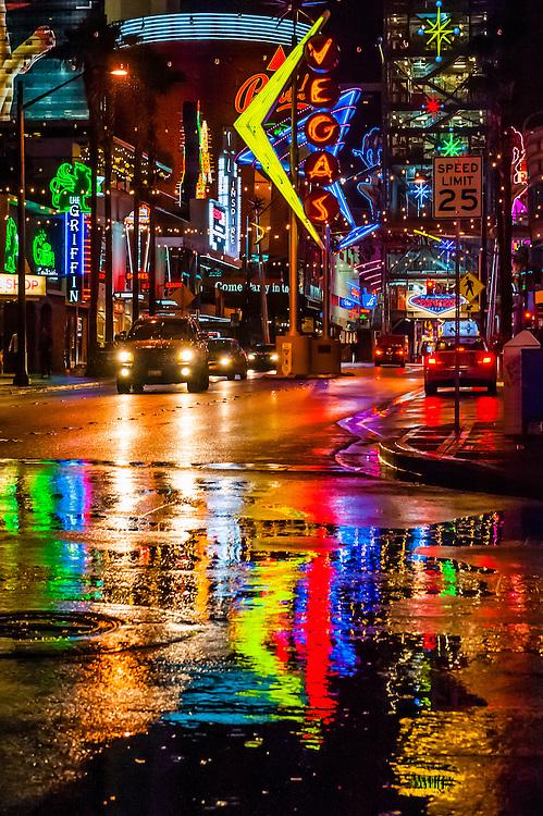 A rainy night in Downtown Las Vegas, Nevada USA.