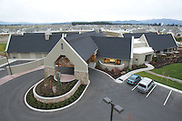 Elevated exterior photos of Hospice of North Idaho's Hospice House in Coeur d'Alene, Idaho.